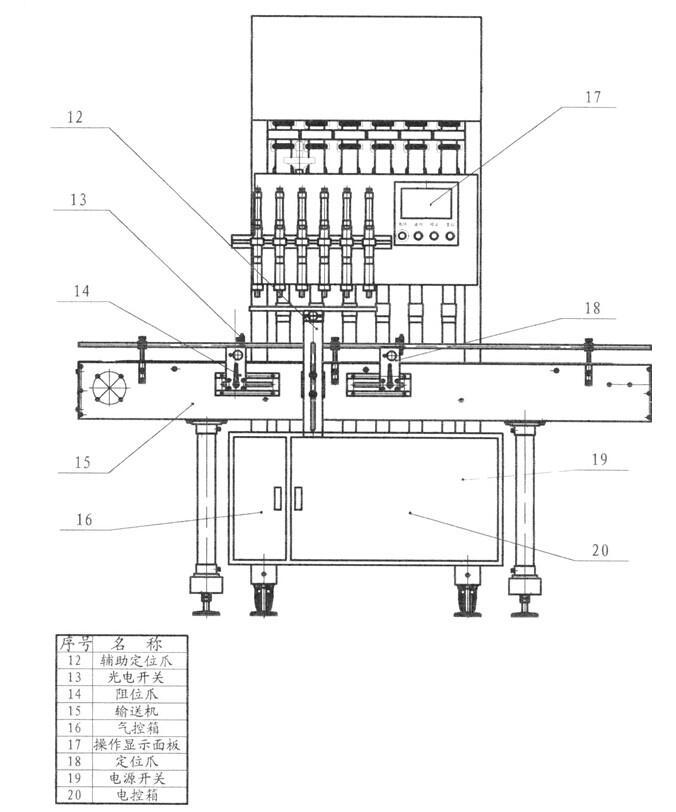 六头全自动液体灌装机内部细节